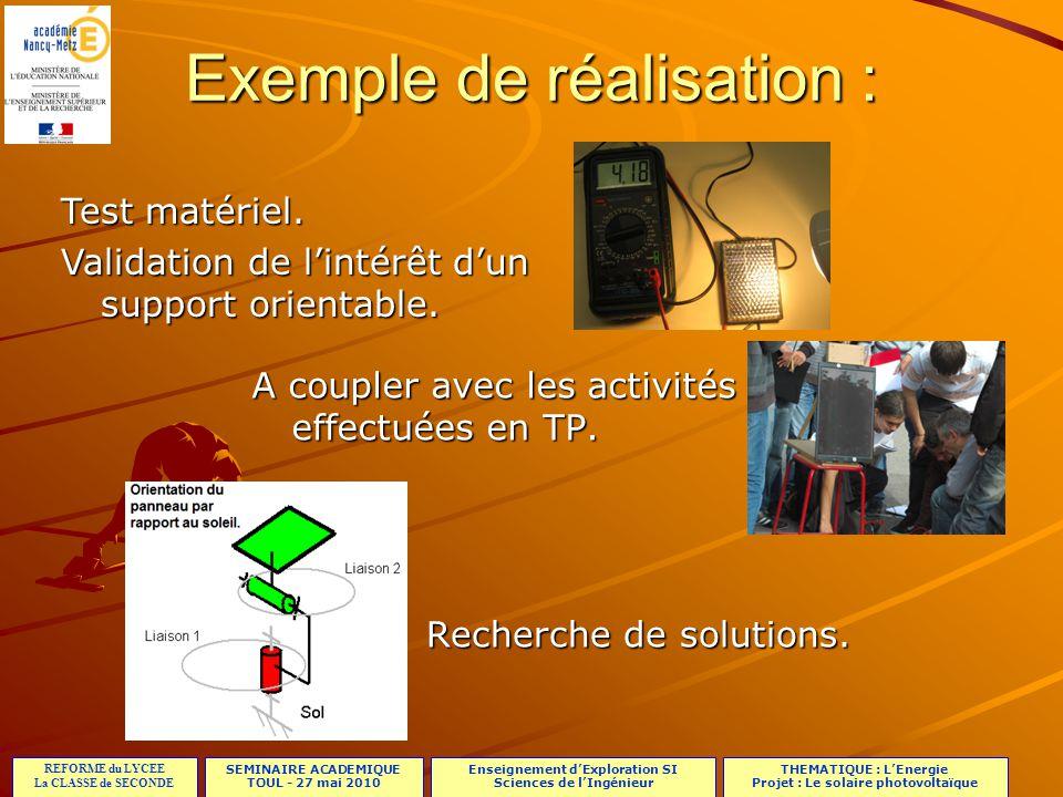 SEMINAIRE ACADEMIQUE TOUL - 27 mai 2010 REFORME du LYCEE La CLASSE de SECONDE Enseignement dExploration SI Sciences de lIngénieur THEMATIQUE : LEnergi