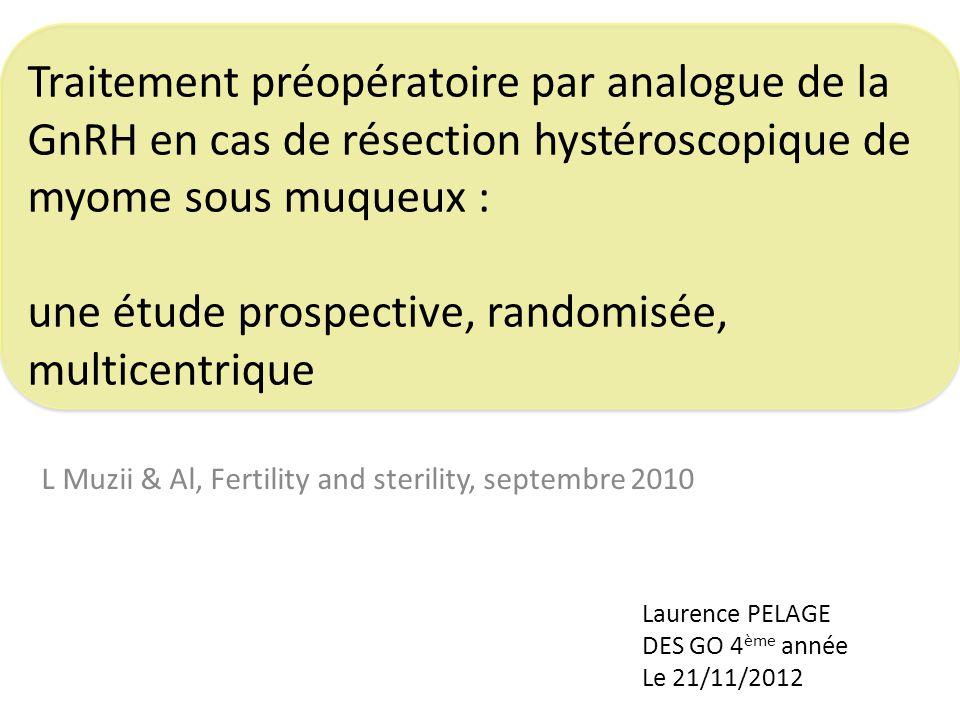 Traitement préopératoire par analogue de la GnRH en cas de résection hystéroscopique de myome sous muqueux : une étude prospective, randomisée, multic