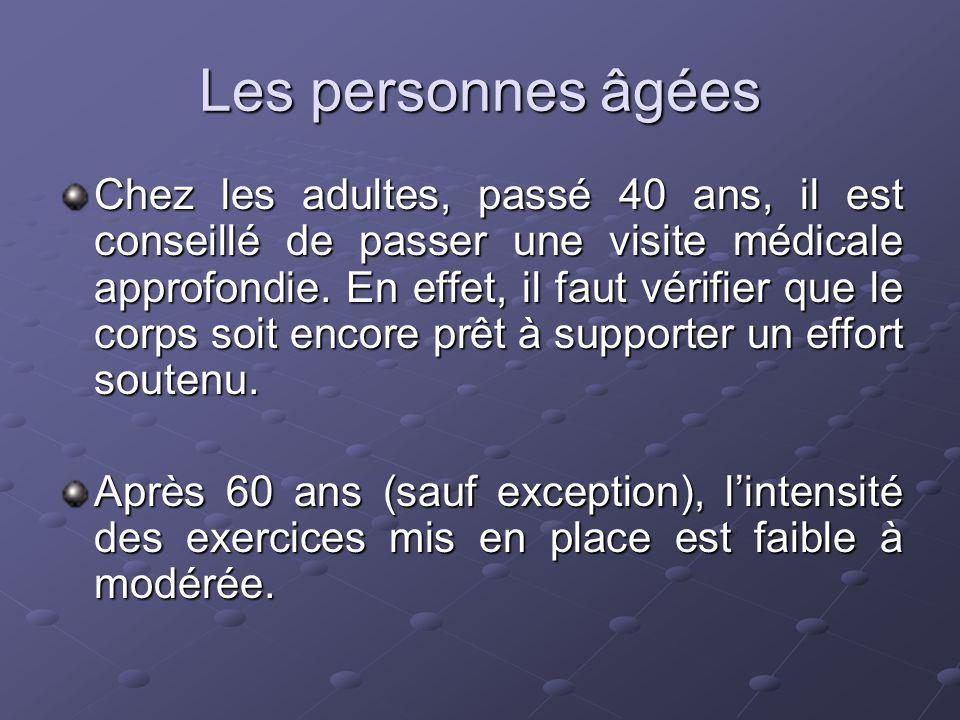Les personnes âgées Chez les adultes, passé 40 ans, il est conseillé de passer une visite médicale approfondie. En effet, il faut vérifier que le corp