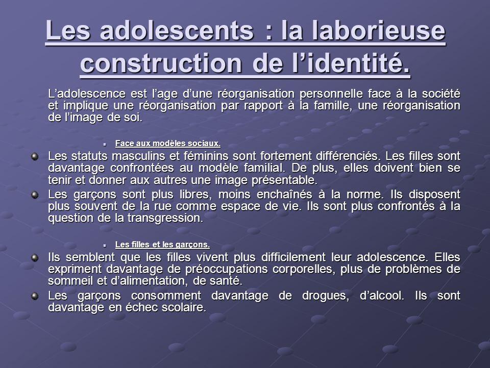 Les adolescents : la laborieuse construction de lidentité. Ladolescence est lage dune réorganisation personnelle face à la société et implique une réo