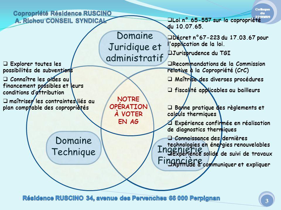 Domaine Juridique et administratif Domaine Technique Colloque du 22/09//09 3 NOTRE OPÉRATION À VOTER EN AG Ingénierie Financière Décret n°67-223 du 17
