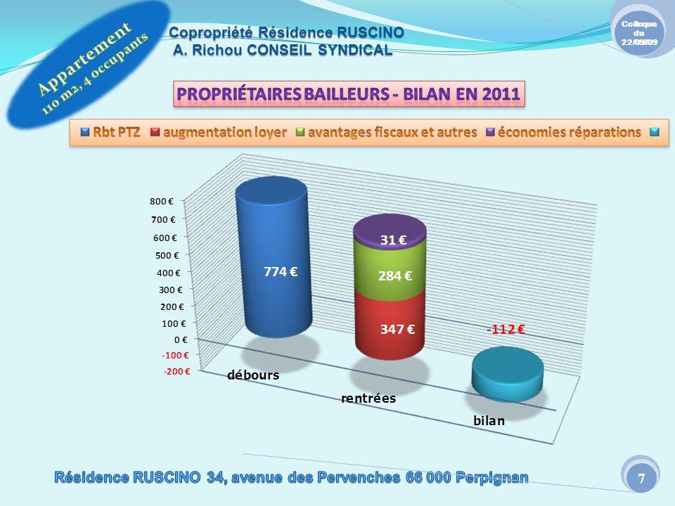 Copropriété Résidence RUSCINO A. Richou CONSEIL SYNDICAL Colloque du 22/09//09 7