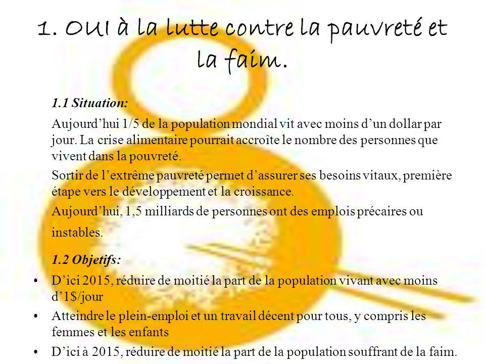 2 OUI Leducation primaire pour tous 2.1 Situation: 72 millions denfants dans le monde ne vont pas à lécole.