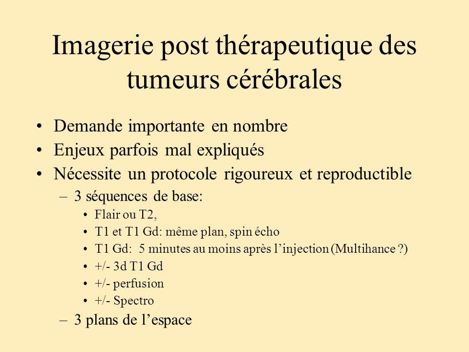Imagerie post thérapeutique des tumeurs cérébrales Demande importante en nombre Enjeux parfois mal expliqués Nécessite un protocole rigoureux et repro