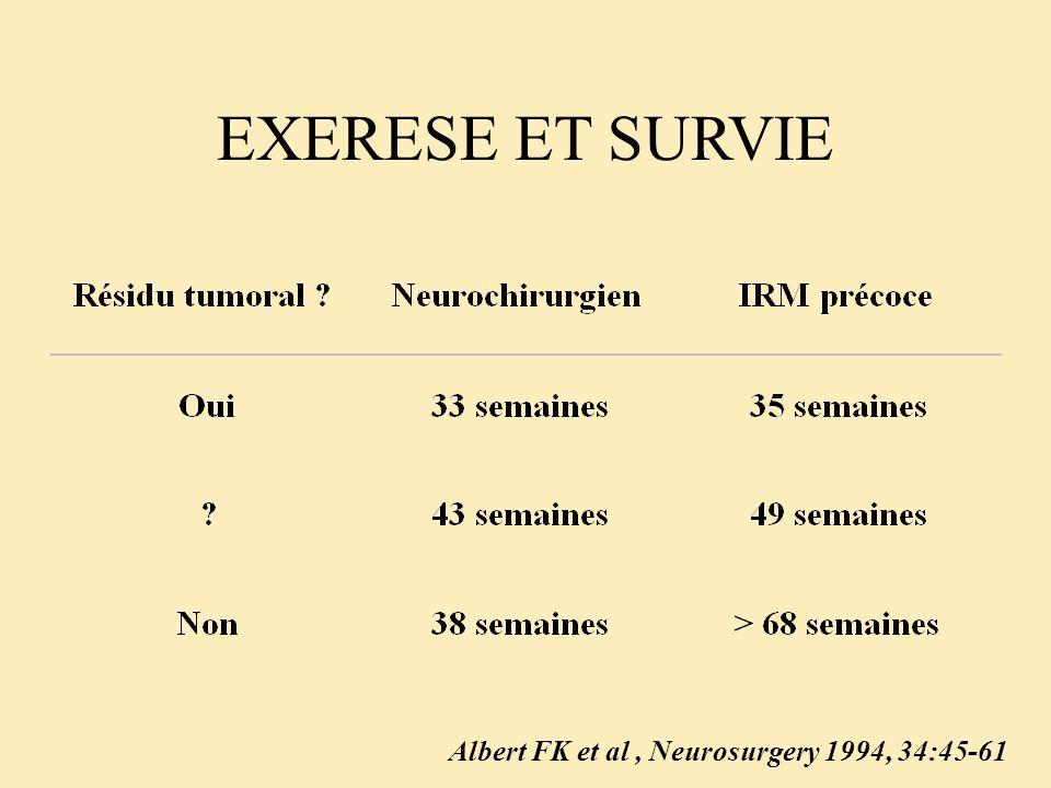 EXERESE ET SURVIE Albert FK et al, Neurosurgery 1994, 34:45-61