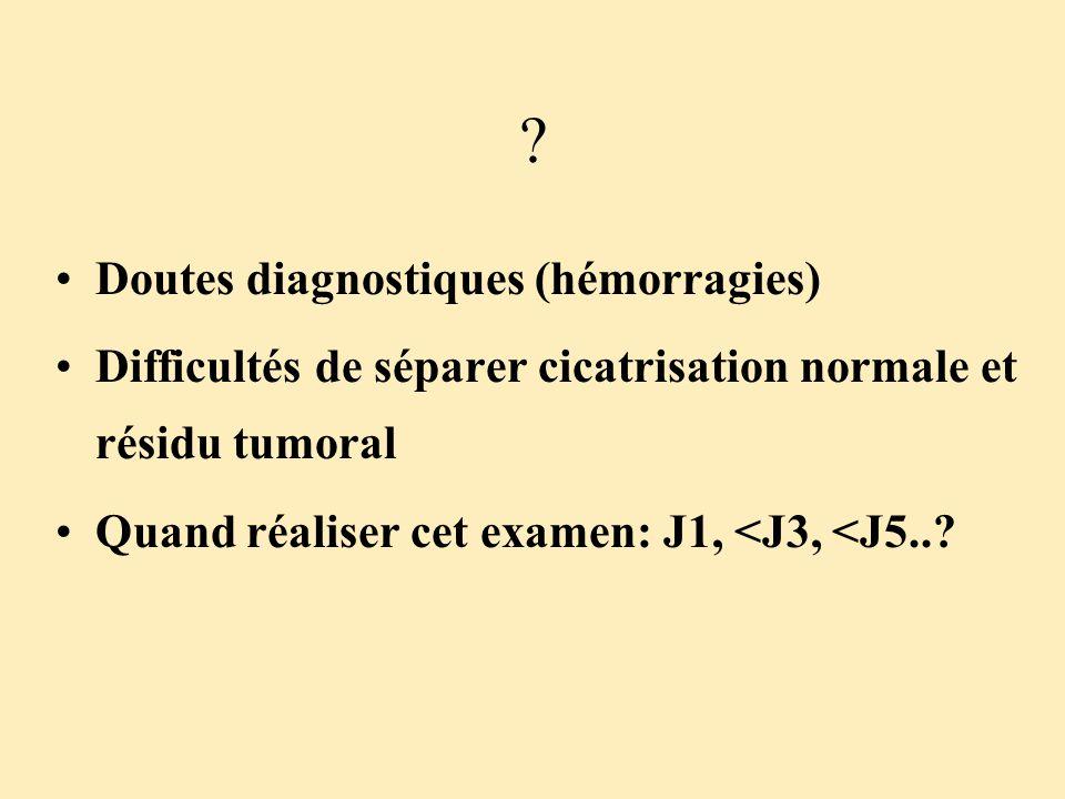 ? Doutes diagnostiques (hémorragies) Difficultés de séparer cicatrisation normale et résidu tumoral Quand réaliser cet examen: J1, <J3, <J5..?