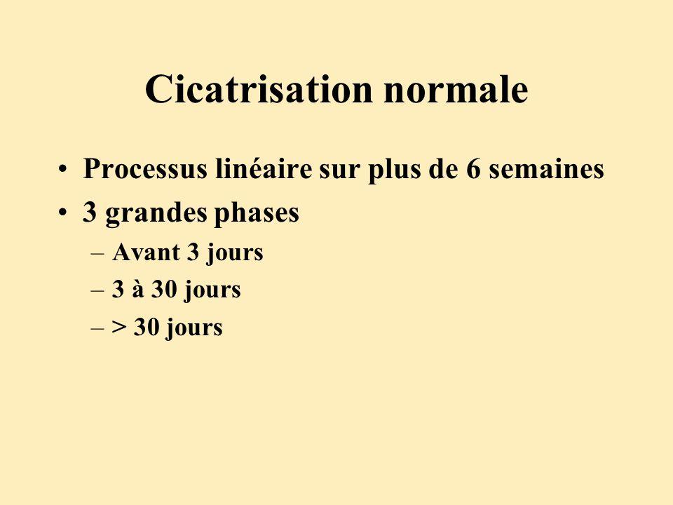 Cicatrisation normale Processus linéaire sur plus de 6 semaines 3 grandes phases –Avant 3 jours –3 à 30 jours –> 30 jours