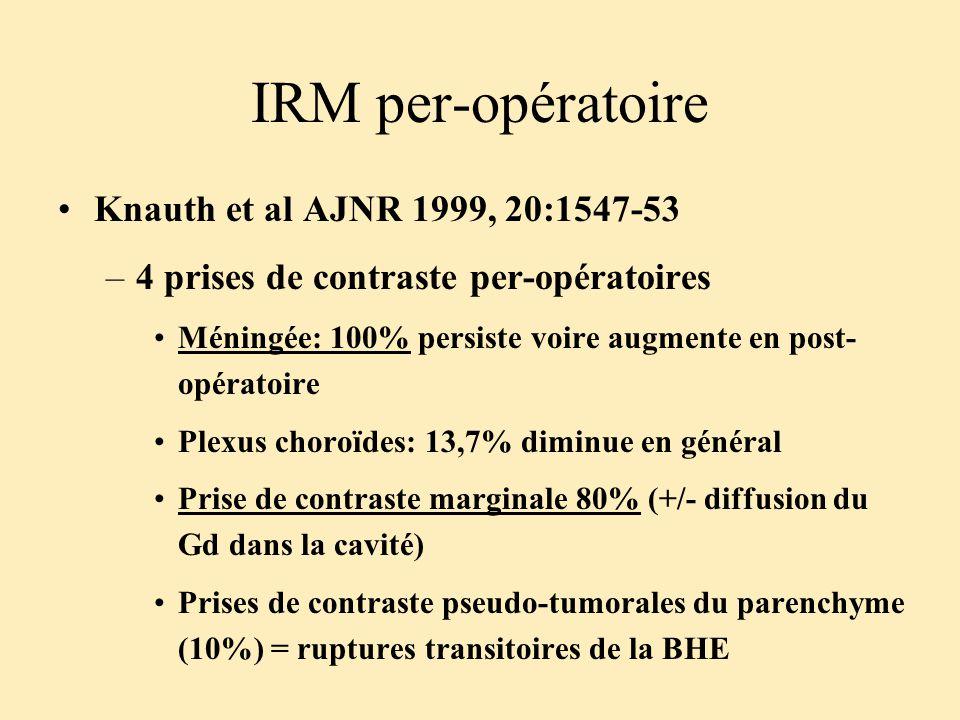 IRM per-opératoire Knauth et al AJNR 1999, 20:1547-53 –4 prises de contraste per-opératoires Méningée: 100% persiste voire augmente en post- opératoir