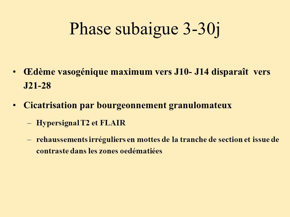 Phase subaigue 3-30j Œdème vasogénique maximum vers J10- J14 disparaît vers J21-28 Cicatrisation par bourgeonnement granulomateux –Hypersignal T2 et F