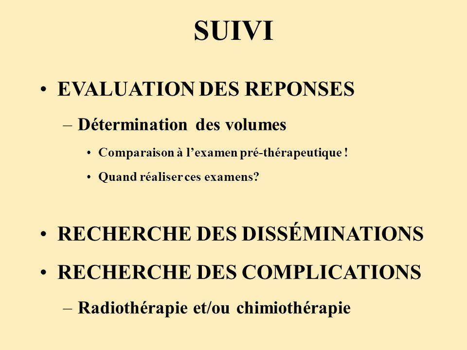 SUIVI EVALUATION DES REPONSES –Détermination des volumes Comparaison à lexamen pré-thérapeutique ! Quand réaliser ces examens? RECHERCHE DES DISSÉMINA
