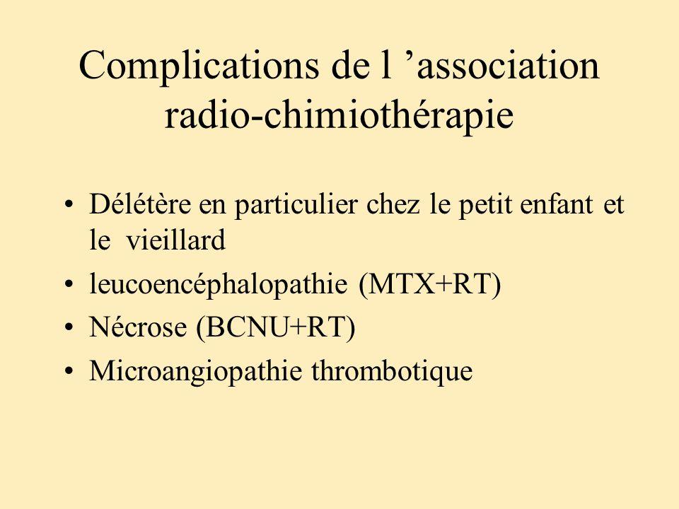 Complications de l association radio-chimiothérapie Délétère en particulier chez le petit enfant et le vieillard leucoencéphalopathie (MTX+RT) Nécrose