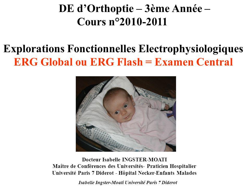 Isabelle Ingster-Moati Université Paris 7 Diderot DE dOrthoptie – 3ème Année – Cours n°2010-2011 Explorations Fonctionnelles Electrophysiologiques ERG