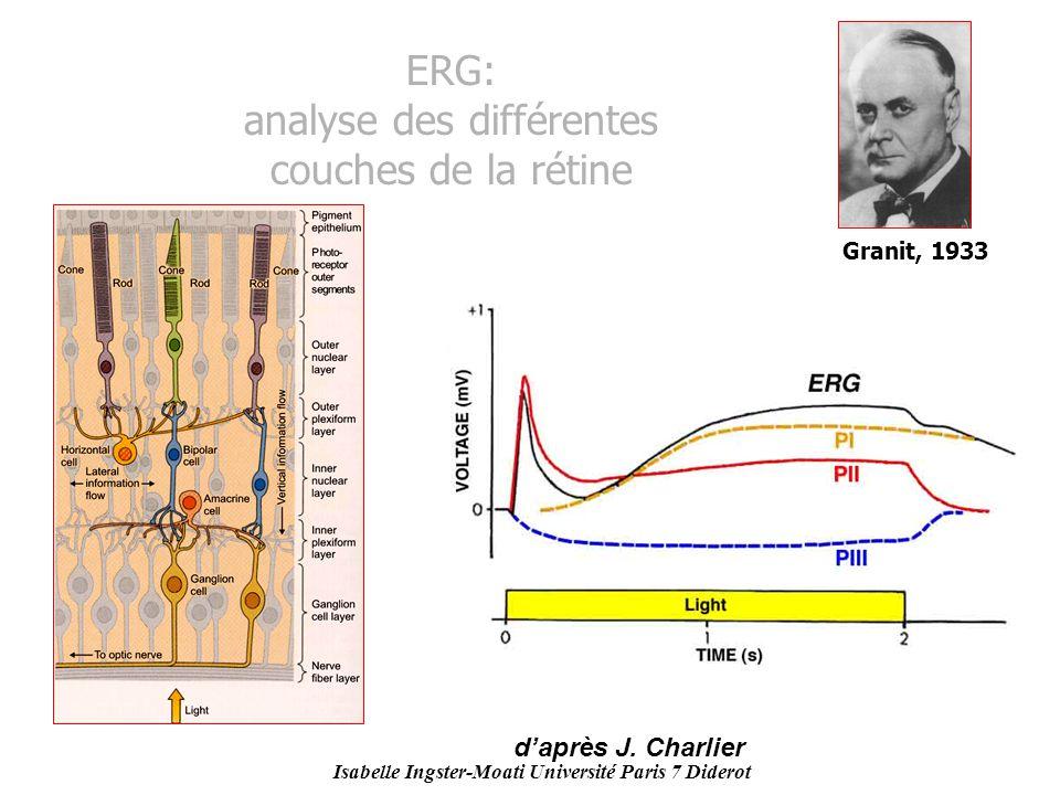 Isabelle Ingster-Moati Université Paris 7 Diderot ERG: analyse des différentes couches de la rétine Granit, 1933 daprès J. Charlier