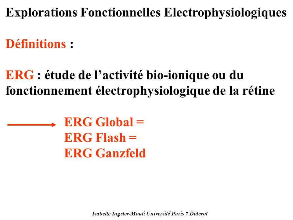 Isabelle Ingster-Moati Université Paris 7 Diderot Explorations Fonctionnelles Electrophysiologiques Définitions : ERG : étude de lactivité bio-ionique
