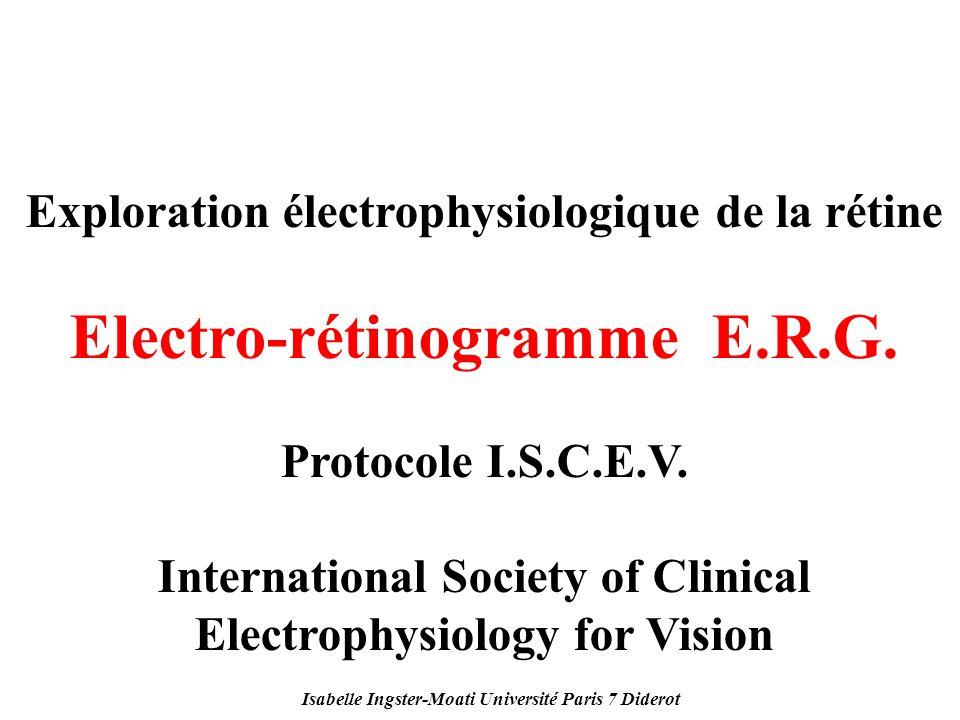 Isabelle Ingster-Moati Université Paris 7 Diderot Exploration électrophysiologique de la rétine Electro-rétinogramme E.R.G. Protocole I.S.C.E.V. Inter