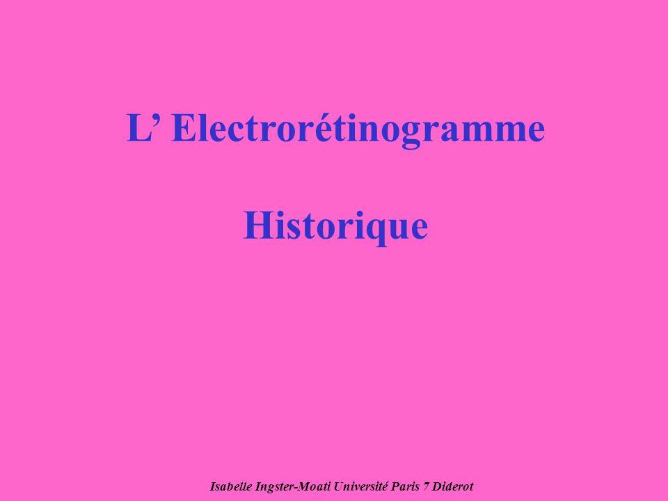 Isabelle Ingster-Moati Université Paris 7 Diderot L Electrorétinogramme Historique