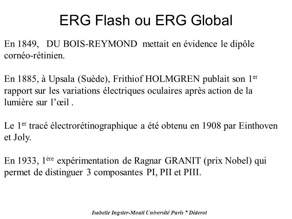 Isabelle Ingster-Moati Université Paris 7 Diderot ERG Flash ou ERG Global En 1849, DU BOIS-REYMOND mettait en évidence le dipôle cornéo-rétinien. En 1