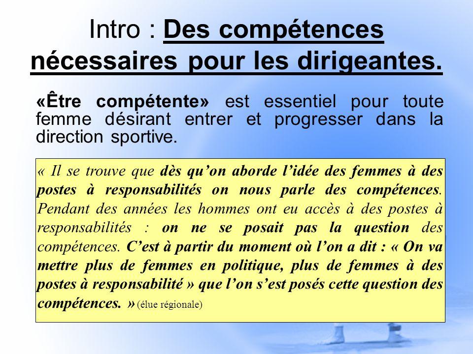 Intro : Des compétences nécessaires pour les dirigeantes.