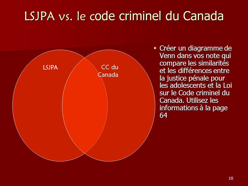 10 LSJPA vs. le c ode criminel du Canada Créer un diagramme de Venn dans vos note qui compare les similarités et les différences entre la justice péna