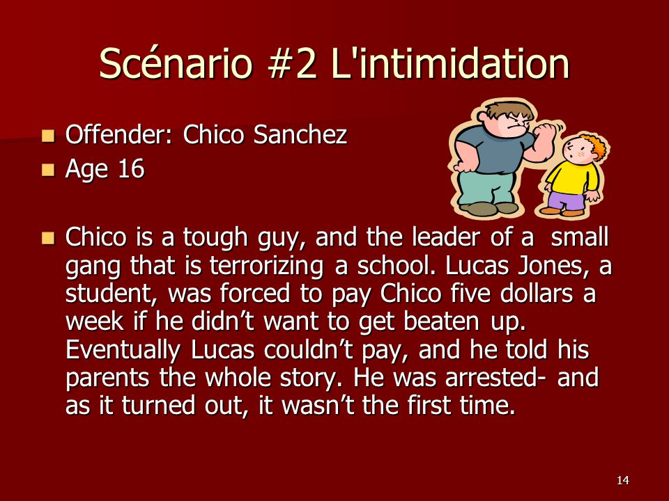 14 Scénario #2 L intimidation Offender: Chico Sanchez Offender: Chico Sanchez Age 16 Age 16 Chico is a tough guy, and the leader of a small gang that is terrorizing a school.