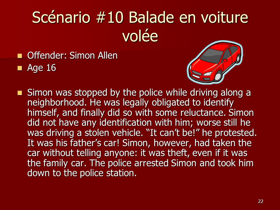 22 Scénario #10 Balade en voiture volée Offender: Simon Allen Offender: Simon Allen Age 16 Age 16 Simon was stopped by the police while driving along a neighborhood.