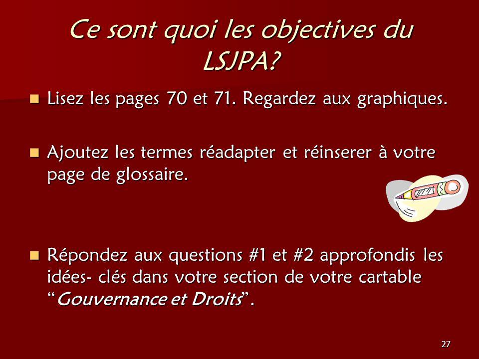 27 Ce sont quoi les objectives du LSJPA? Lisez les pages 70 et 71. Regardez aux graphiques. Lisez les pages 70 et 71. Regardez aux graphiques. Ajoutez