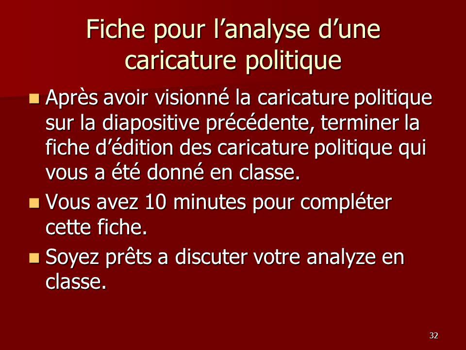 32 Fiche pour lanalyse dune caricature politique Après avoir visionné la caricature politique sur la diapositive précédente, terminer la fiche déditio