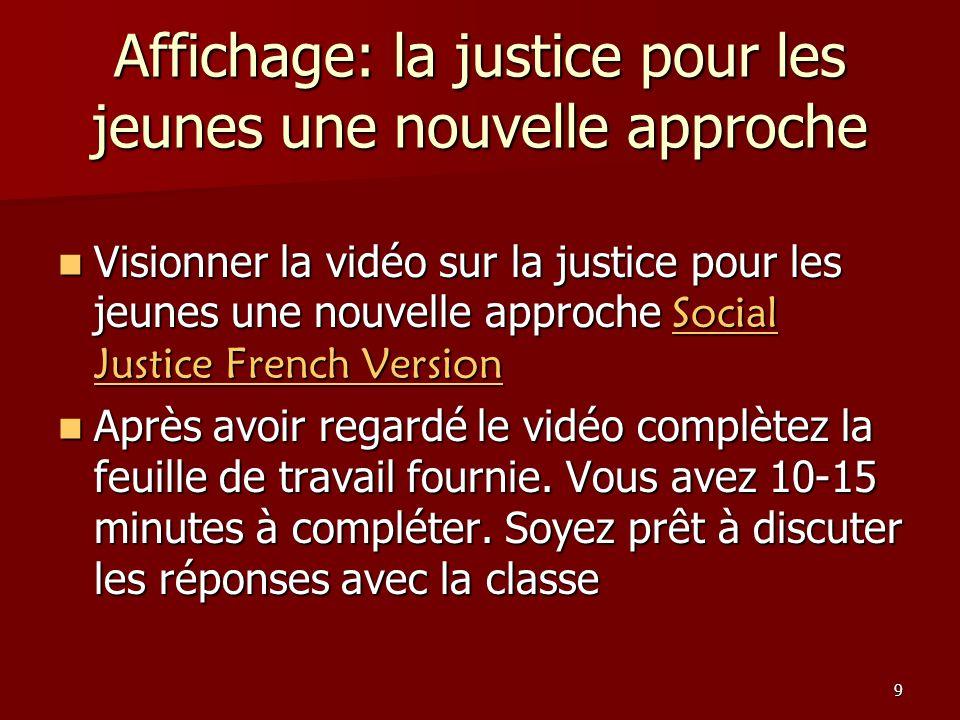 9 Affichage: la justice pour les jeunes une nouvelle approche Visionner la vidéo sur la justice pour les jeunes une nouvelle approche Social Justice F
