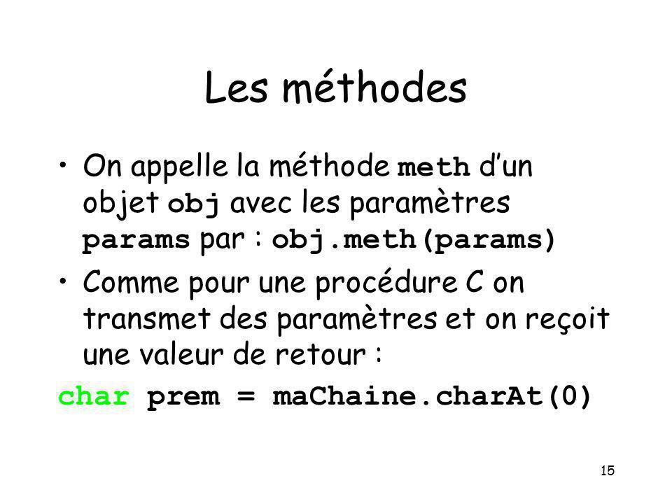 15 Les méthodes On appelle la méthode meth dun objet obj avec les paramètres params par : obj.meth(params) Comme pour une procédure C on transmet des