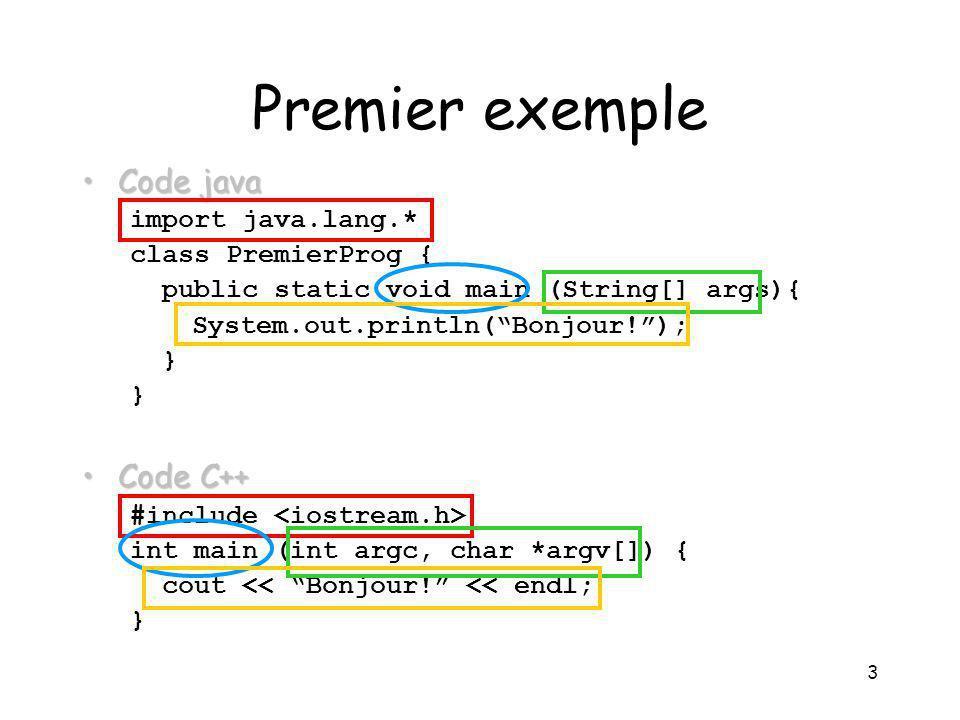 4 Compilation/interprétation Pour obtenir un programme : à partir du code C++, on compile directement le source : gcc programme.cc à partir du java, on transforme le source dans un langage qui sera interprété dans la machine virtuel : javac PremierProg.java java PremierProg