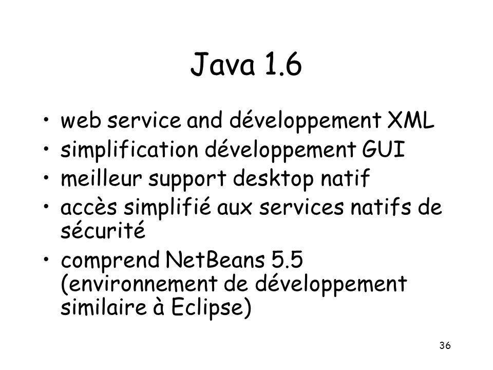 36 Java 1.6 web service and développement XML simplification développement GUI meilleur support desktop natif accès simplifié aux services natifs de s