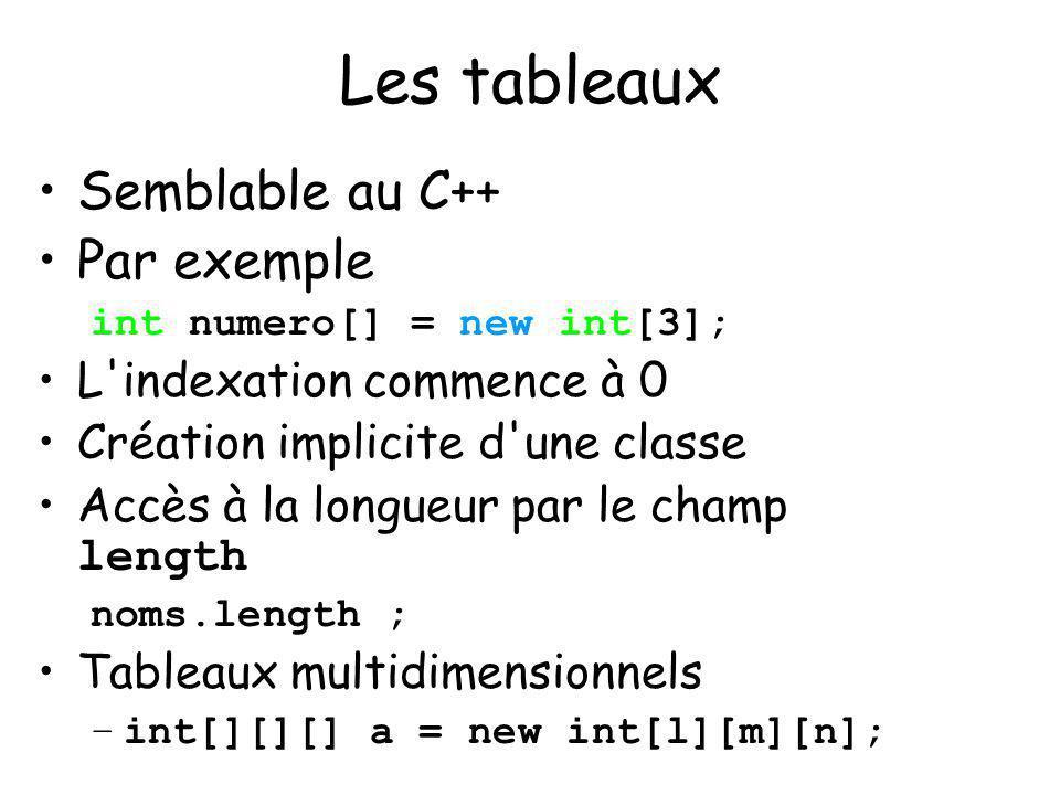 9 Les tableaux Semblable au C++ Par exemple int numero[] = new int[3]; L'indexation commence à 0 Création implicite d'une classe Accès à la longueur p