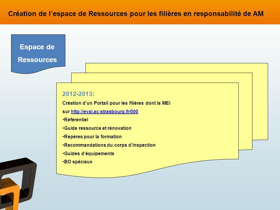 2012-2013: Création dun Portail pour les filières dont la MEI sur http://eval.ac-strasbourg.fr/000http://eval.ac-strasbourg.fr/000 Référentiel Guide r