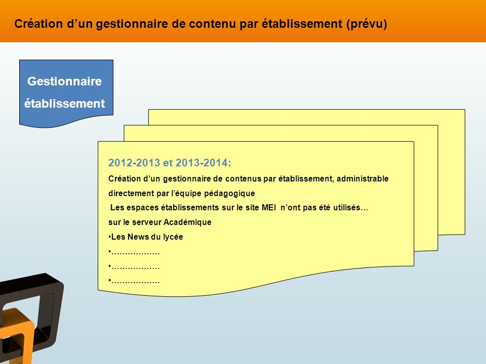 2012-2013 et 2013-2014: Création dun gestionnaire de contenus par établissement, administrable directement par léquipe pédagogique Les espaces établis