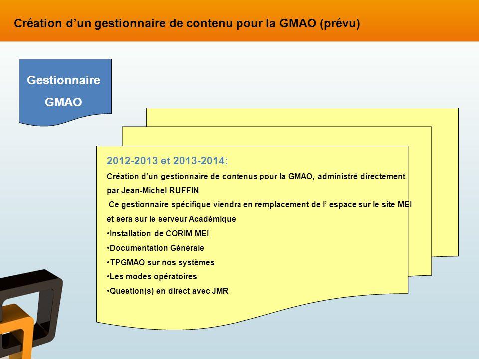 2012-2013 et 2013-2014: Création dun gestionnaire de contenus pour la GMAO, administré directement par Jean-Michel RUFFIN Ce gestionnaire spécifique v
