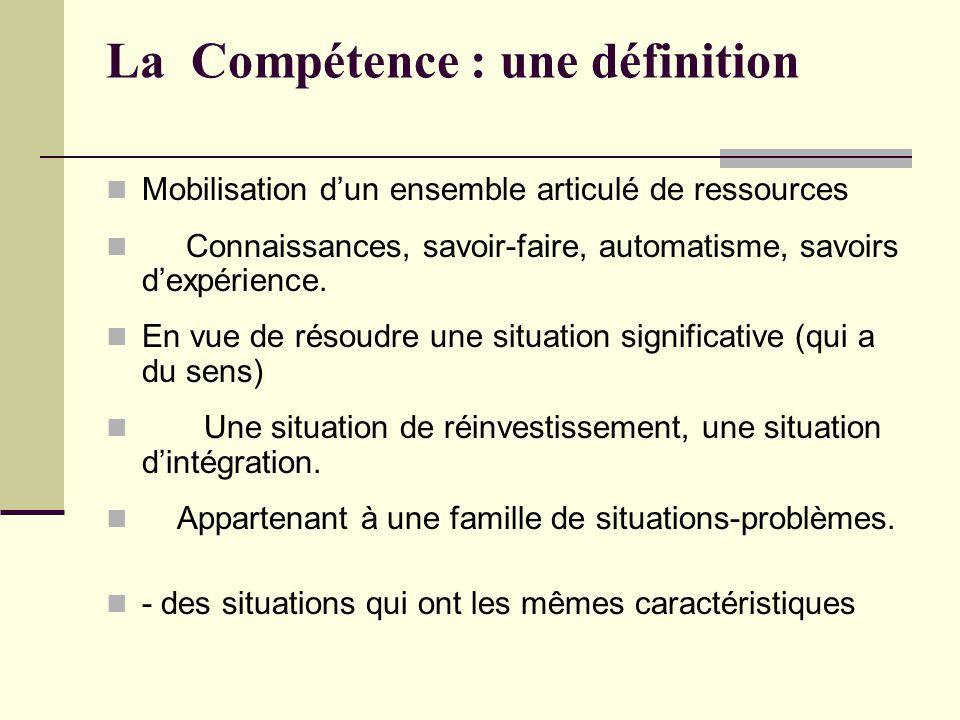 La Compétence : une définition Mobilisation dun ensemble articulé de ressources Connaissances, savoir-faire, automatisme, savoirs dexpérience.