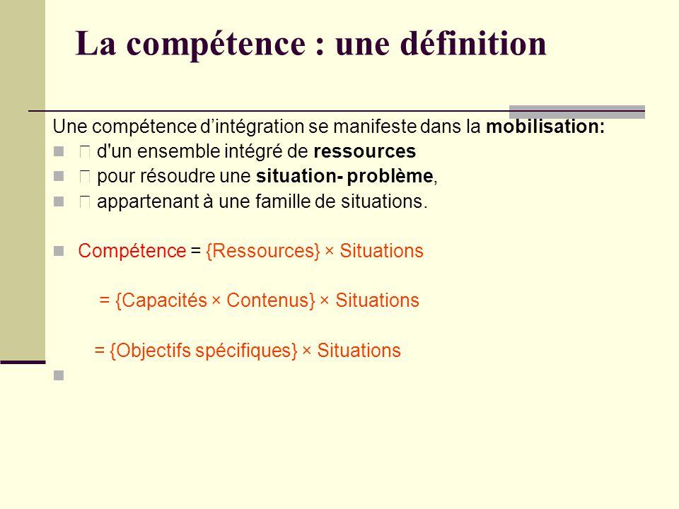 La compétence : une définition Une compétence dintégration se manifeste dans la mobilisation: d un ensemble intégré de ressources pour résoudre une situation- problème, appartenant à une famille de situations.
