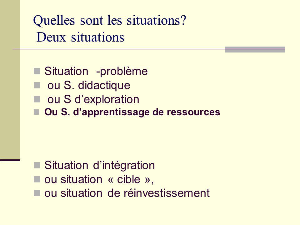 Quelles sont les situations.Deux situations Situation -problème ou S.
