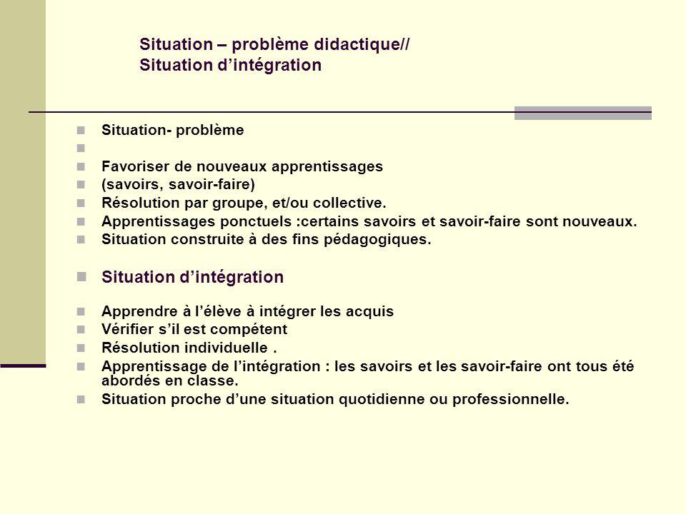 Situation- problème Favoriser de nouveaux apprentissages (savoirs, savoir-faire) Résolution par groupe, et/ou collective.