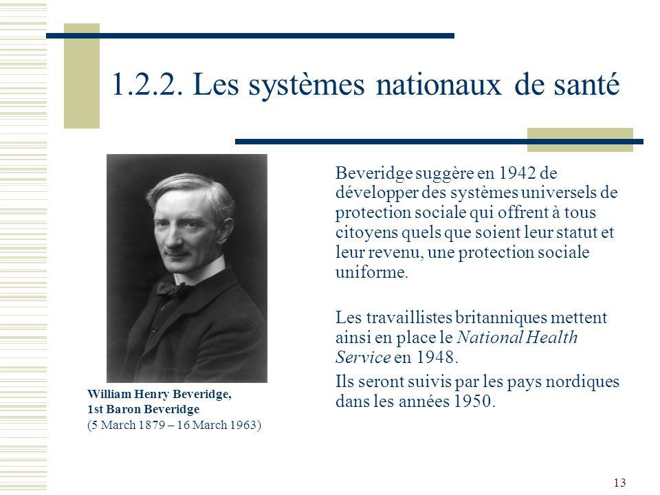 13 1.2.2. Les systèmes nationaux de santé Beveridge suggère en 1942 de développer des systèmes universels de protection sociale qui offrent à tous cit