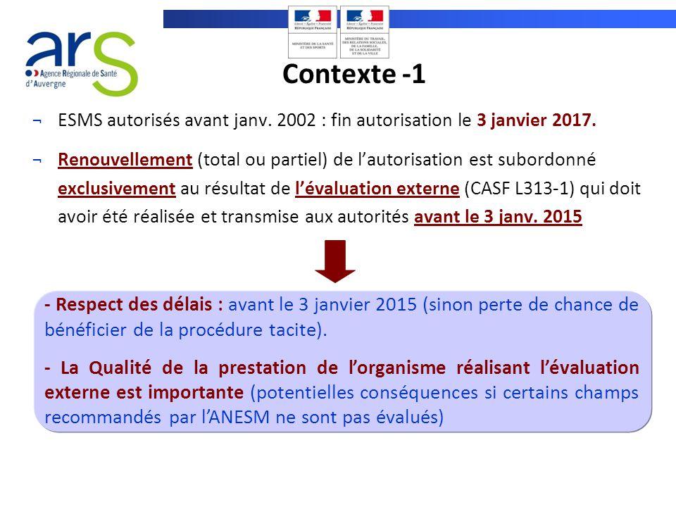 ¬ESMS autorisés avant janv. 2002 : fin autorisation le 3 janvier 2017. ¬Renouvellement (total ou partiel) de lautorisation est subordonné exclusivemen