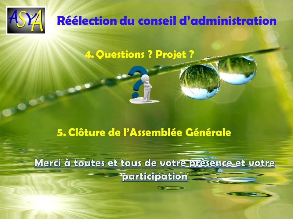 Réélection du conseil dadministration 5.Clôture de lAssemblée Générale 4.Questions ? Projet ?