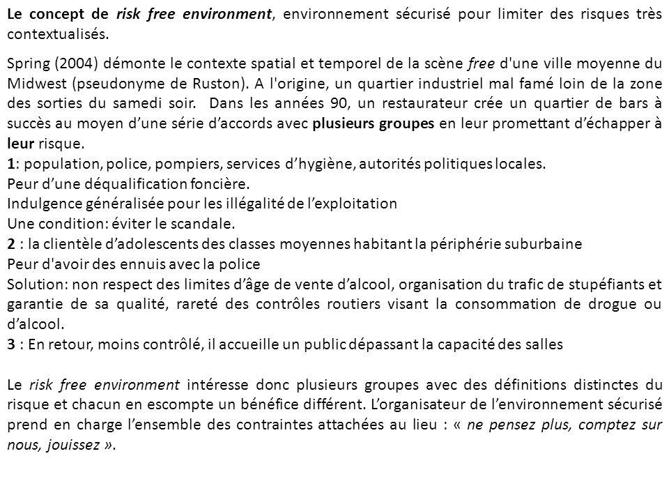 Le concept de risk free environment, environnement sécurisé pour limiter des risques très contextualisés. Spring (2004) démonte le contexte spatial et