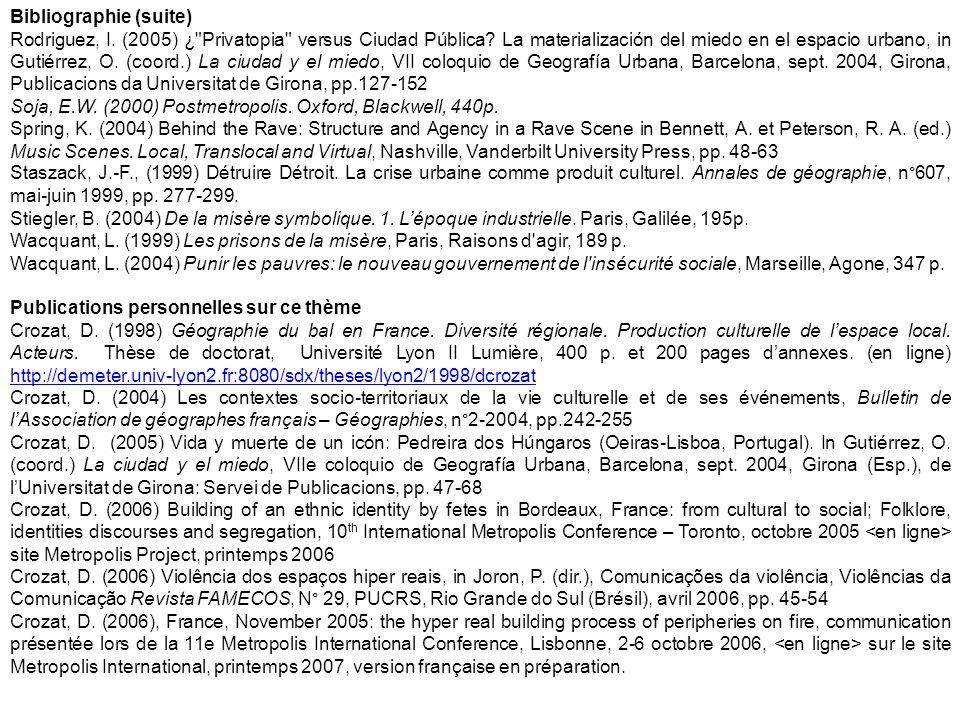 Bibliographie (suite) Rodriguez, I. (2005) ¿