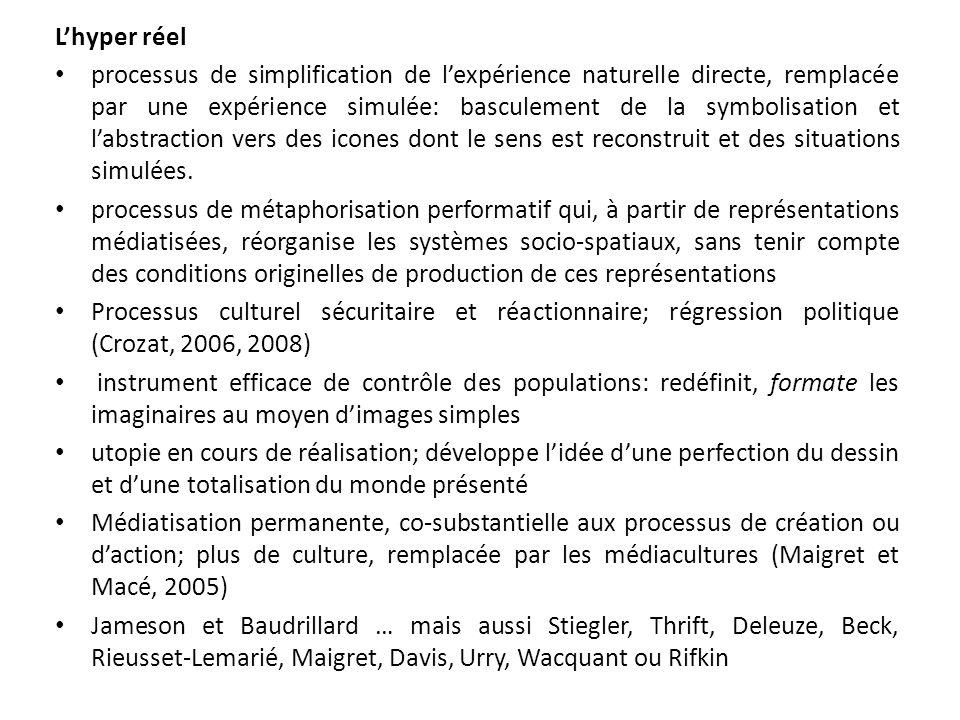 Lhyper réel processus de simplification de lexpérience naturelle directe, remplacée par une expérience simulée: basculement de la symbolisation et lab