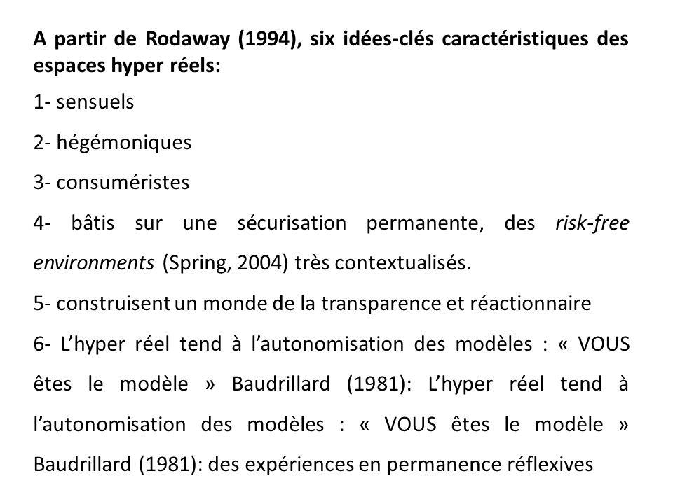 A partir de Rodaway (1994), six idées-clés caractéristiques des espaces hyper réels: 1- sensuels 2- hégémoniques 3- consuméristes 4- bâtis sur une séc