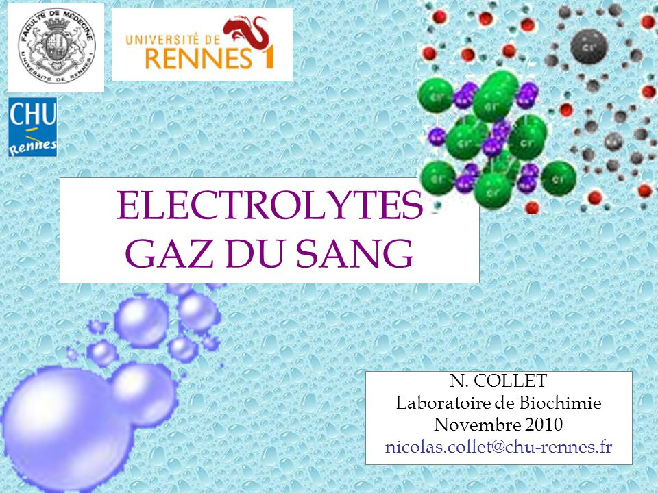 2 I.Electrolytes DISSOCIATION dans les solvants IONS de CHARGE ELECTRIQUE OPPOSEE ELECTROLYTES FORTS et FAIBLES Coexistence de molécules dissociées et non dissociées Coefficient de dissociation: α = nb de mol dissociées/nb de mol total ANIONS et CATIONS Nécessité de neutralité électrique dans les liquides physiologiques Schéma de Gamble