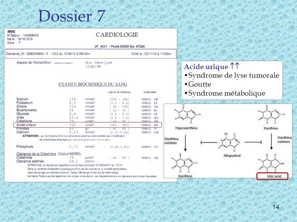 14 Dossier 7 CARDIOLOGIE Acide urique Syndrome de lyse tumorale Goutte Syndrome métabolique