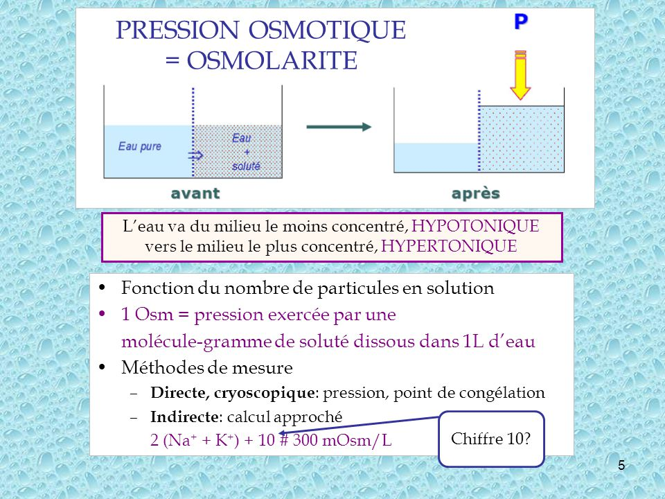 5 Fonction du nombre de particules en solution 1 Osm = pression exercée par une molécule-gramme de soluté dissous dans 1L deau Méthodes de mesure – Directe, cryoscopique : pression, point de congélation – Indirecte : calcul approché 2 (Na + + K + ) + 10 # 300 mOsm/L Leau va du milieu le moins concentré, HYPOTONIQUE vers le milieu le plus concentré, HYPERTONIQUE PRESSION OSMOTIQUE = OSMOLARITE Chiffre 10?
