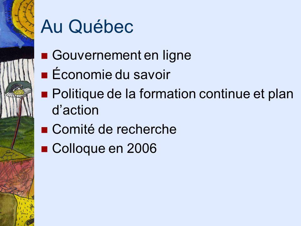 Au Québec Gouvernement en ligne Économie du savoir Politique de la formation continue et plan daction Comité de recherche Colloque en 2006